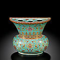 A famille-rose turquoise-ground wall vase, qing dynasty, qianlong period (1736-1795)