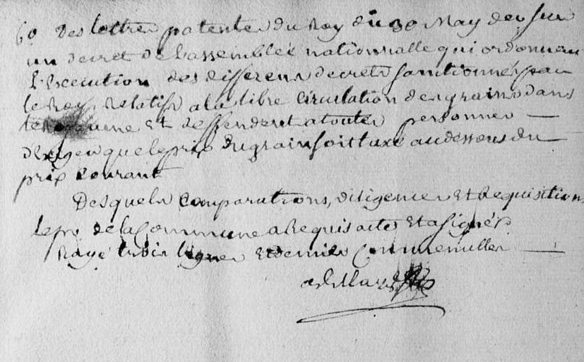 Le 30 juin 1790 à Mamers : Enregistrement de lois.
