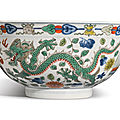 A wucai 'dragon and phoenix' bowl, qianlong seal mark and period (1736-1795)