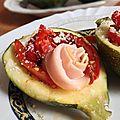 Courgettes farcies aux poivrons marinés