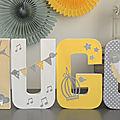 Lettres prénom décorées thème oiseau et plume