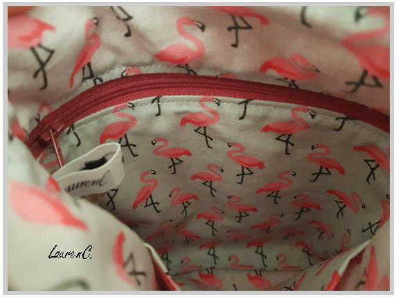 POCHETTE SIMILI ROSE CORAIL FLAMANTS INTERIEUR