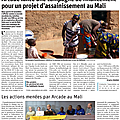 Article sur l'assainissement dans le dauphiné libéré du 24 novembre 2020