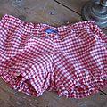 Culotte BIANCA en coton vichy rouge et blanc - Noeud de vichy marine (2)