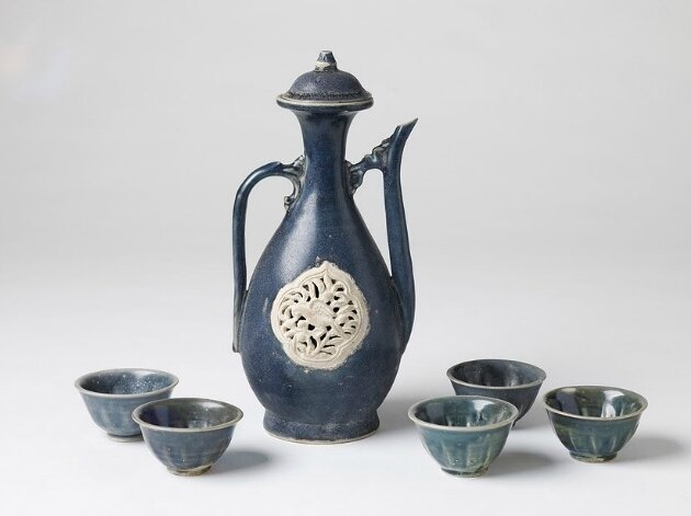 Cobalt Blue Ewer with Reticulated Parrot Plaque and Five Cups, Vietnam