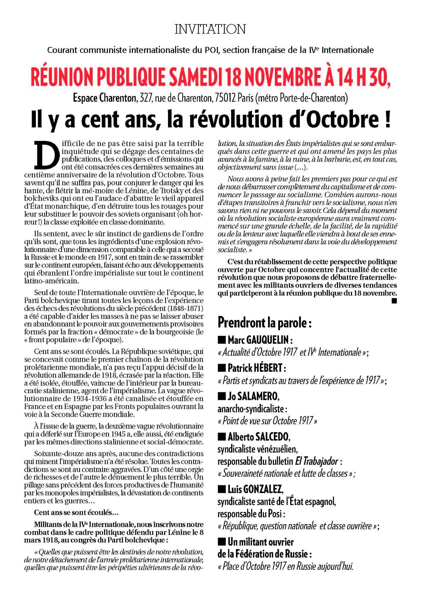 Un autre point de vue face aux médias qui dénaturent octobre 17