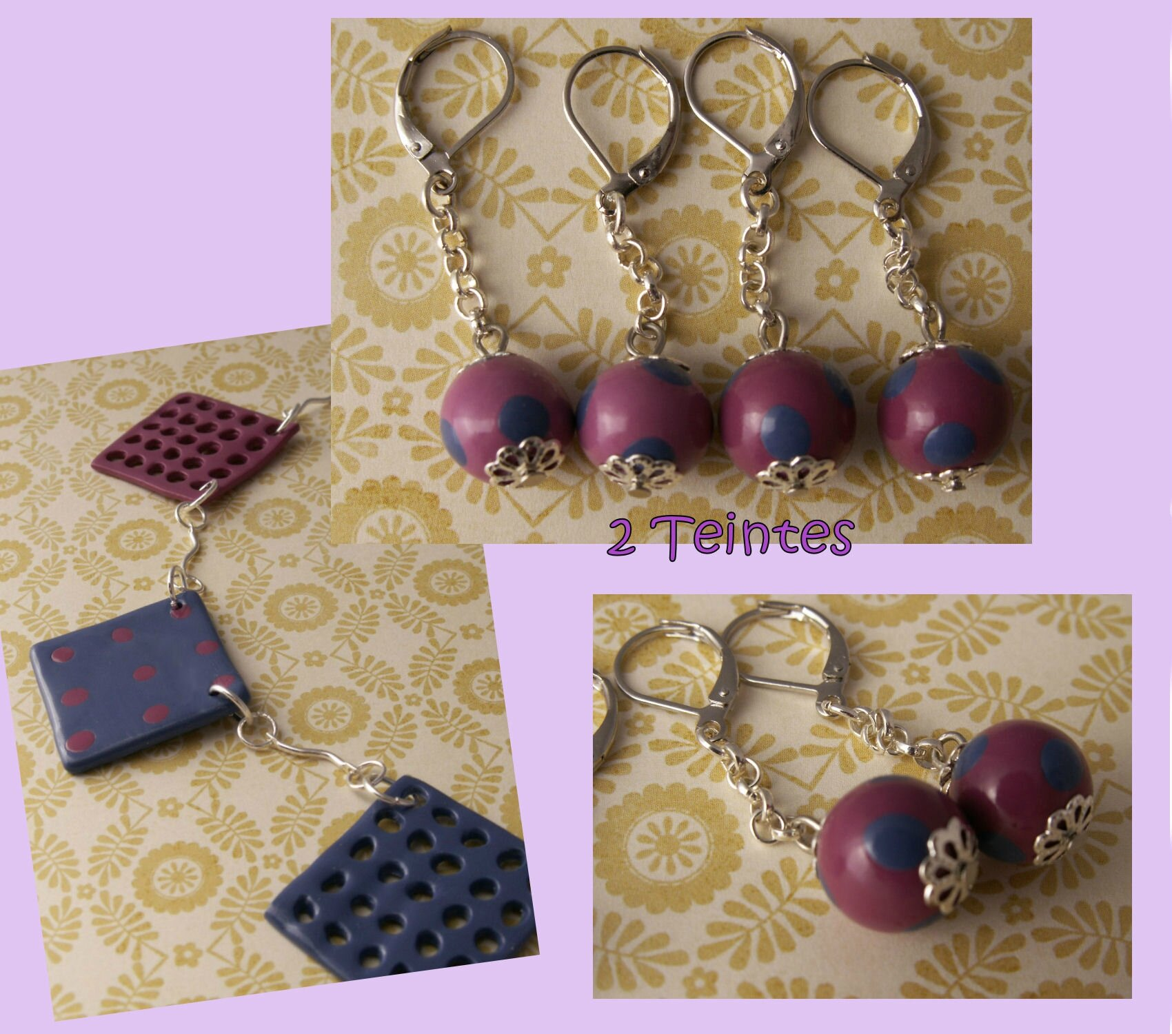 Boucles assorties collier trou trou