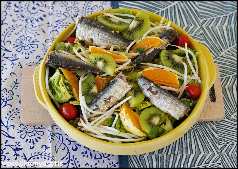 Salade sucrines et sardines, orange et kiwi