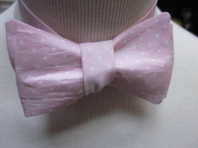 Véritable NOEUD PAPillon en coton rose à pois blancs (2)
