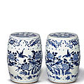 A pair of blue and white garden stools, late qing dynasty