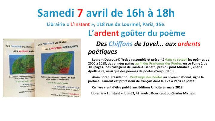 Goûter de l'ardent poème, librairie L'Instant, publication Des Chiffons de Javel..., poèmes des collégiens de Sainte-E