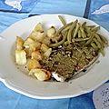 Filets de flétan au pesto et pommes de terre rissolées aux haricots verts