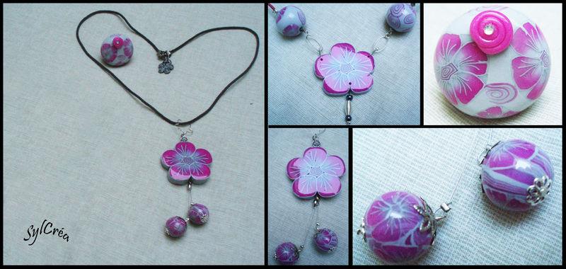 Collier grosse fleur rose gris