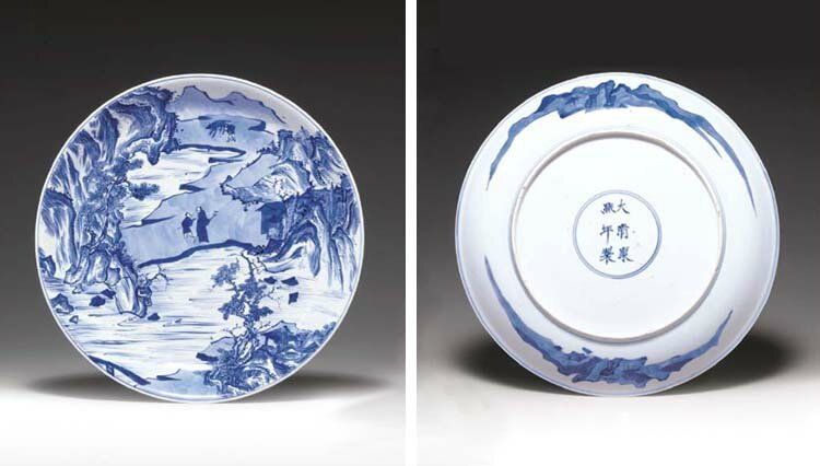 A rare 'Master of the Rocks' blue and white dish, Kangxi six-character mark in underglaze blue within a double circle and of the period (1662-1722)