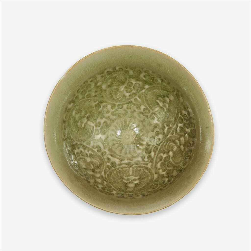 A Chinese 'Yaozhou' celadon carved bowl, Northern Song dynasty (960–1127)