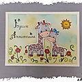 Carte à thème : sophie la girafe, et petit gigi dans la savane