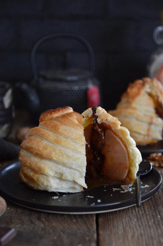 poire feuilletée chocolat noix - CROUSTIPATE