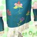 jupe en laine et coton motif en laine cardée