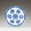 A Chinese export blue and white porcelain plate, Kangxi Period (1662-1722)