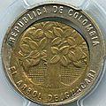 500 pesos 1993 colombie coeur déformé