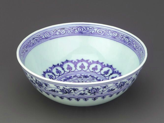 Bowl, 1426-1435, Ming dynasty, Xuande reign. Porcelain with cobalt decoration under colorless glaze. H: 6.0 W: 15.2 cm. Jingdezhen, China. F1953.2a-b. Freer/Sackler © 2014 Smithsonian Institution
