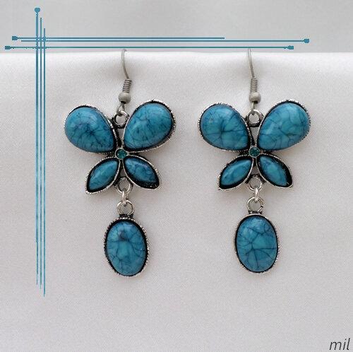 Boucles d'oreilles Style Tibétain Papillon Gawa Perle Et Strass Vert Turquoise Argent du Tibet