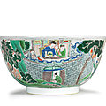 A large famille verte 'ruse of the empty fort' bowl, kangxi period (1662-1722)