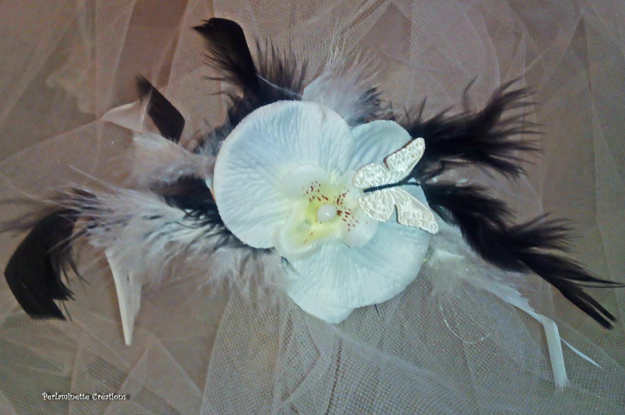 Remontes traîne attaches traîne pour mariage aux thèmes orchidées, papillons, plumes rose fuchsia parme vert anis blanc noir