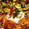 Pavé de saumon laqué au soja et graines de sésame, méli-mélo de légumes