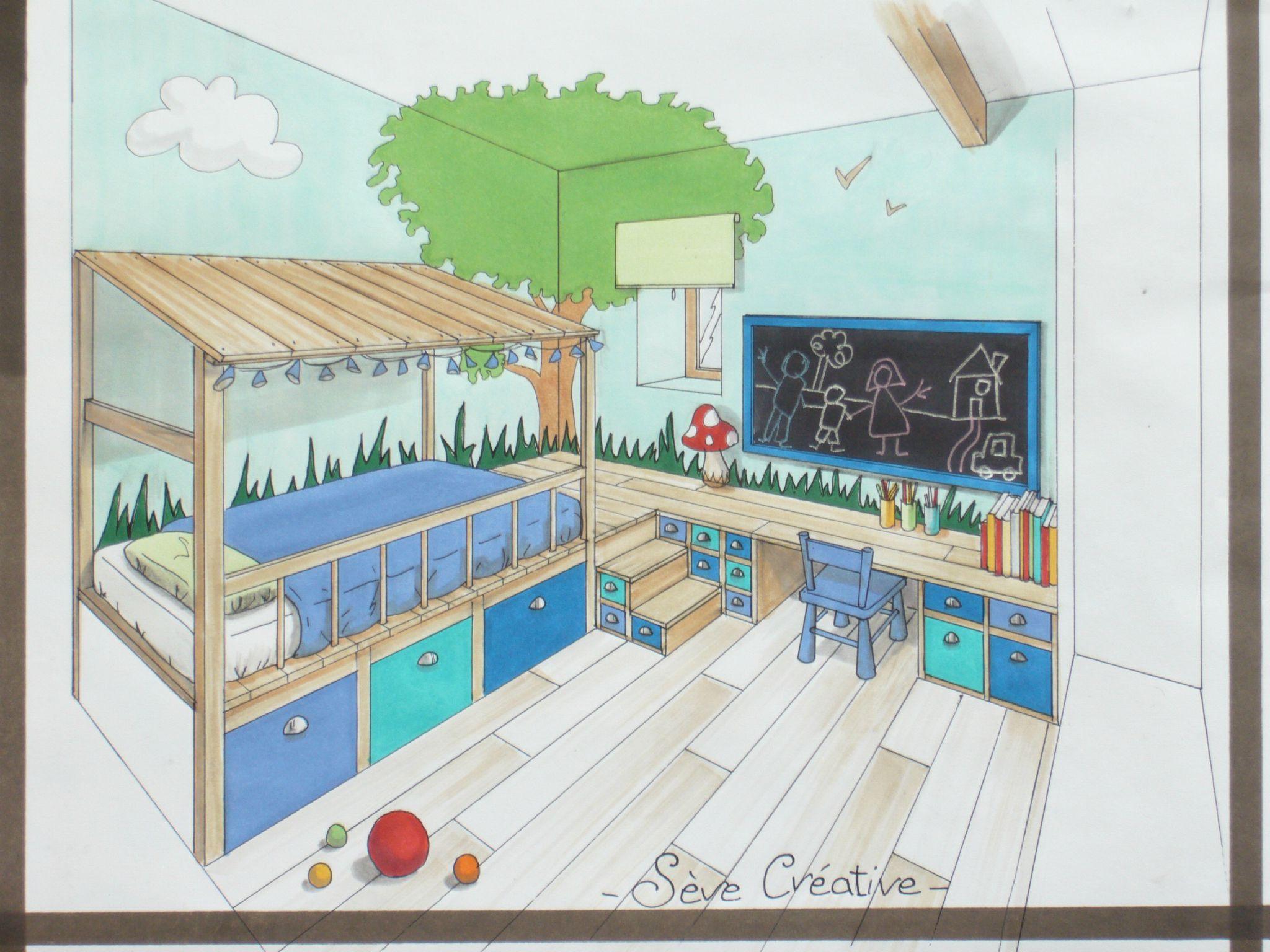 """Dessin D Une Chambre D Enfant prestations """"conseils en aménagement et décoration d'espaces"""