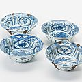 Four kraak porcelain bowls, wanli period (1573-1619)