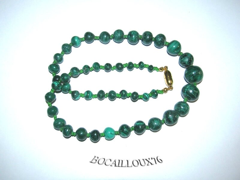 COLLIER MALACHITE 11 Perles D.6-13mm