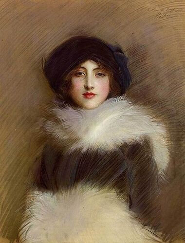 fur coat mademoiselle vaughan, by, paul helleu,
