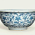 A large blue and white 'day lily' bowl, Jiajing six-character mark in underglaze blue within a double circle and of the period