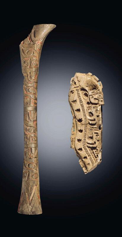 Two Rare Early Mammoth Tusk And Bone Carvings Shang Dynasty Circa 1600 1100 Bc Alain R Truong