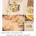 mariage rétro original bouquet gris argent jaune dentelle ivoire strass tissu cereza deco 13b