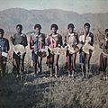 A group of dancing Swazi maidens in Swaziland, South Africa, October 1930