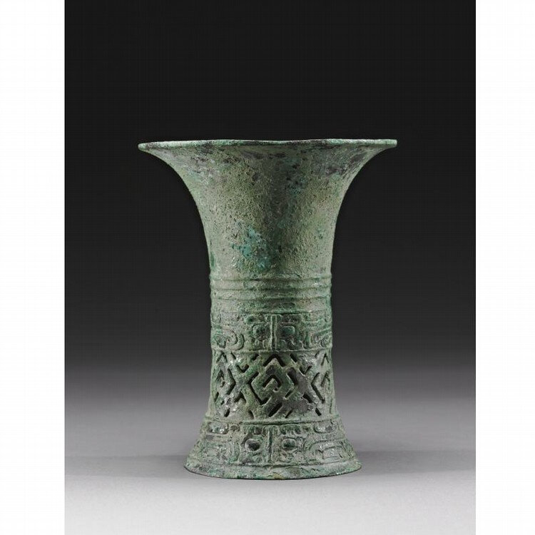 A fine and rare archaic bronze ritual wine vessel, gu, Shang Dynasty, Erligang Period (c