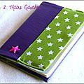 protège-passeport en simili cuir violet, doublure coton vert étoilé, étoile fuchsia