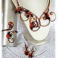 Parure en fil aluminium marron orange, 3 pièces collier bracelet boucles d'oreilles