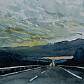 Road under clouds, aquarelle mai 2018