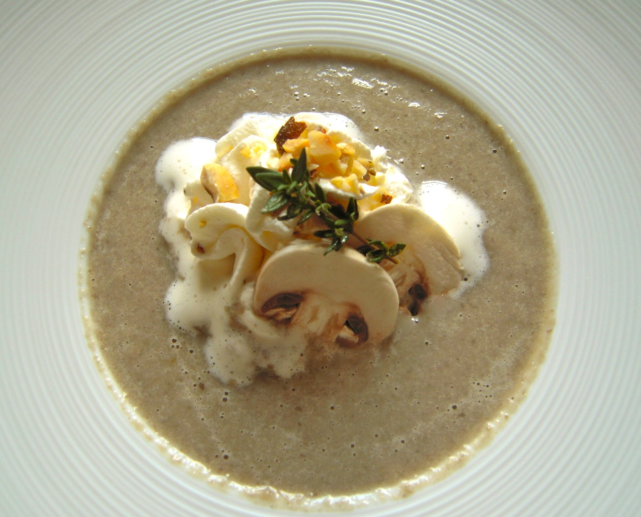 cappucino aux champignons et chantilly aux noisettes