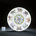 A fine doucai 'anbaxian' ogee dish, qianlong six-character sealmark and of the period (1736-1995)