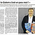 Article du ouest-france autour de la sortie du livre du songe du golem !