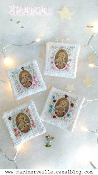 Marimerveille collection comme un scapulaire fleuri -Vierge Marie