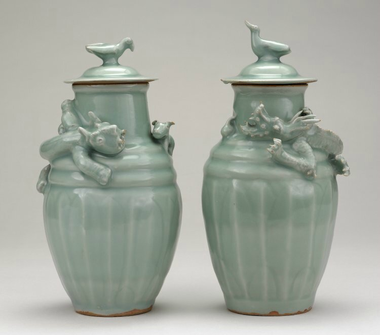 Pair of Longquan porcelain funerary urns, Southern Song Dynasty, Sir Percival David Foundation of Chinese Art