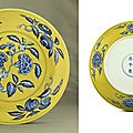 A fine and rare yellow-ground blue and white decorated dish, Zhengde six-character mark within double circles and of the period (1506-1521)