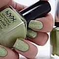 Pastel pistachio de nyx et 627 lime green de kiko