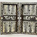 Jeu de trictrac en ébène et ivoire gravé, italie du nord, vers 1600