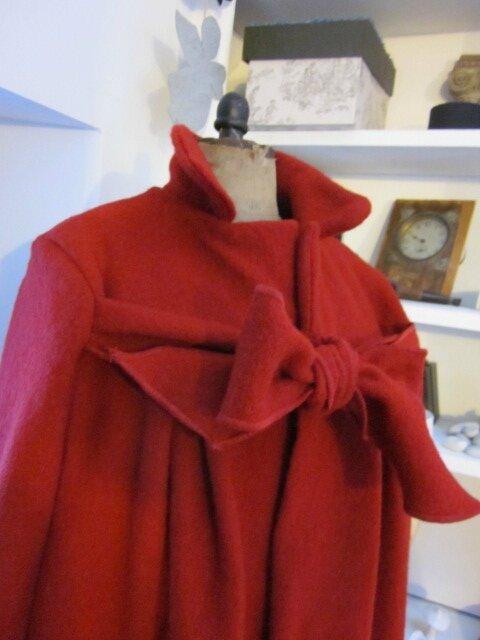 Manteau AGLAE en laine bouillie rouge (1)